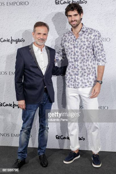 Model Juan Betancourt and Panos Papadopoulos attend the 'Panos Emporio' photocall at El Corte Ingles store on May 11 2017 in Madrid Spain