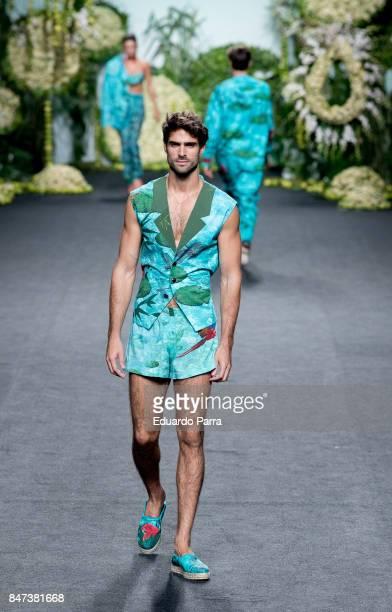 Model Juan Betancourt walks the runway at the Francis Montesinos show during the MercedesBenz Fashion Week Madrid Spring/Summer 2018 at Ifema on...