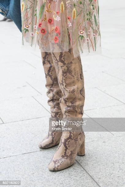 Model Julia Necker wear an HM dress vintage boots day 2 of Paris Haute Couture Fashion Week Autumn/Winter 2017 on July 3 2017 in Paris France