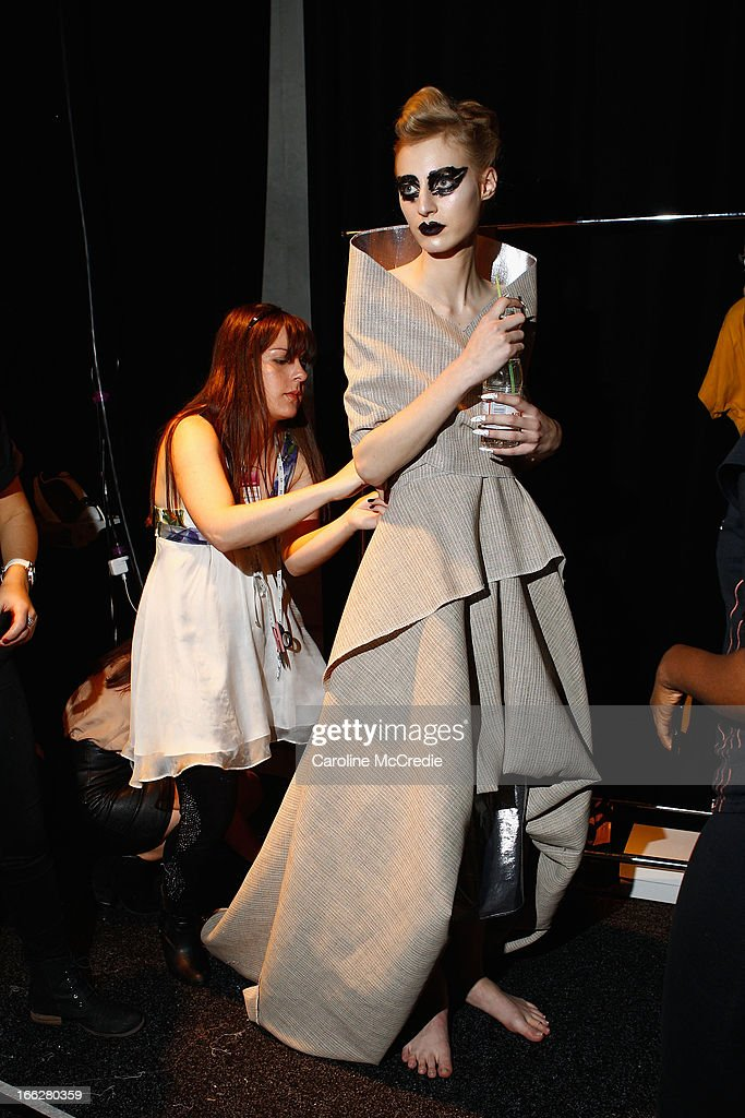 Model Julia Nobis prepares backstage ahead of the Phoenix Keating show during Mercedes-Benz Fashion Week Australia Spring/Summer 2013/14 at Carriageworks on April 11, 2013 in Sydney, Australia.