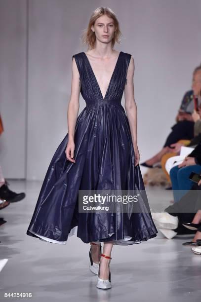 Model Julia Nobis walks the runway at the Calvin Klein Spring Summer 2018 fashion show during New York Fashion Week on September 7 2017 in New York...