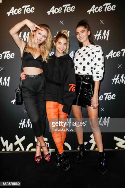 Model Julia Wulf German actress LisaMarie Koroll and model Fata Hasanovic attend the HM Ace Tee showcase on August 16 2017 in Berlin Germany