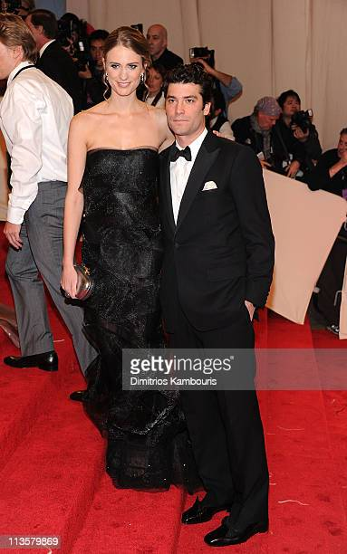 Model Julie Henderson and Alejandro Santo Domingo attend the 'Alexander McQueen Savage Beauty' Costume Institute Gala at The Metropolitan Museum of...