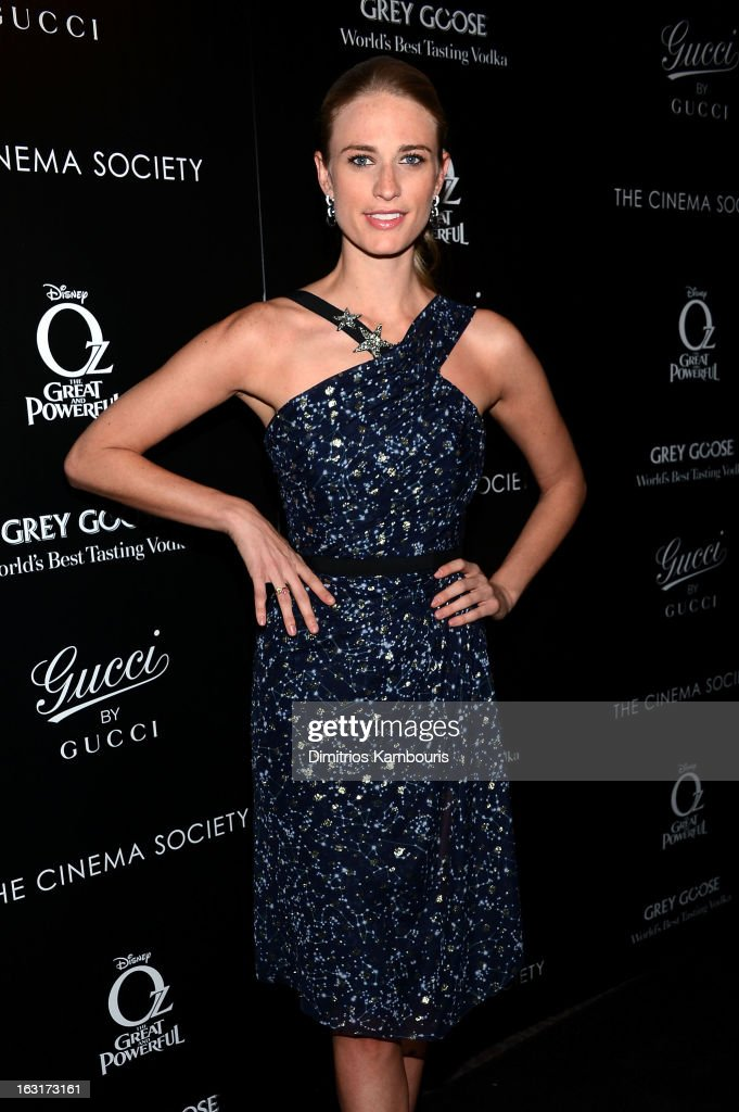 Model Julie Henderson attends the Gucci and The Cinema Society screening of 'Oz the Great and Powerful' at DGA Theater on March 5, 2013 in New York City.