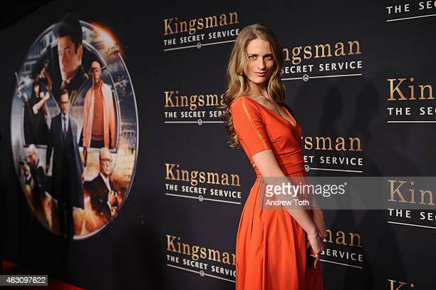 Model Julie Henderson attends the 'Kingsman The Secret Service' New York premiere at SVA Theater on February 9 2015 in New York City