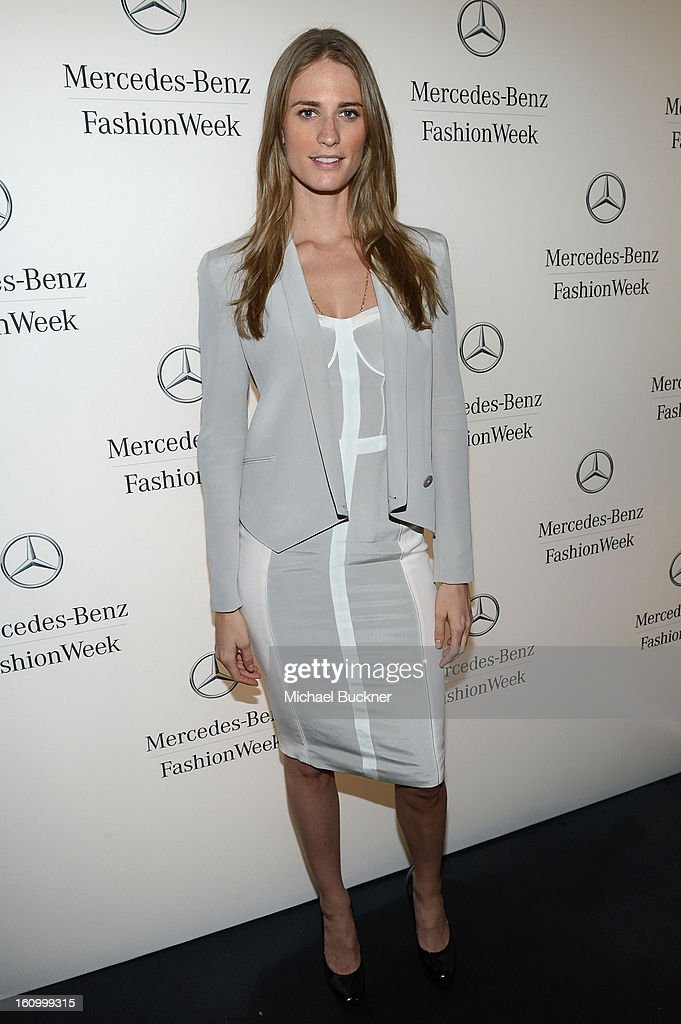 Model Julie Henderson attends the Mercedes-Benz Star Lounge during Mercedes-Benz Fashion Week Fall 2013 at Lincoln Center on February 8, 2013 in New York City.