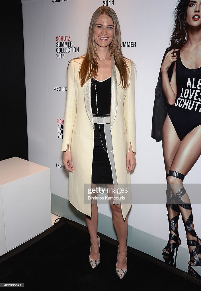 Model <a gi-track='captionPersonalityLinkClicked' href=/galleries/search?phrase=Julie+Henderson&family=editorial&specificpeople=4154524 ng-click='$event.stopPropagation()'>Julie Henderson</a> attends the Schutz Summer 2014 Collection Launch at Schutz on April 2, 2014 in New York City.