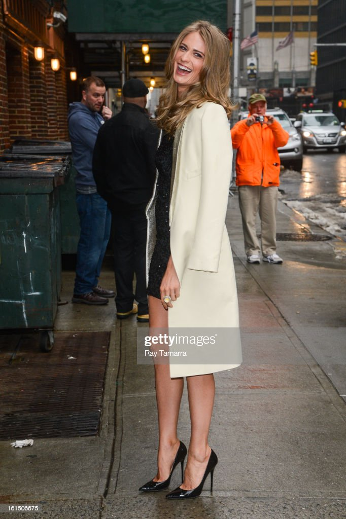 Model Julie Henderson enters the 'Late Show With David Letterman' taping at the Ed Sullivan Theater on February 11, 2013 in New York City.