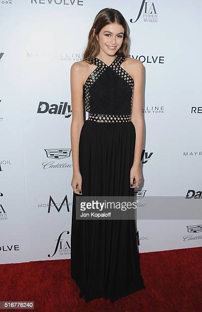 Model Kaia Gerber arrives at The Daily Front Row 'Fashion Los Angeles Awards' 2016 at Sunset Tower Hotel on March 20 2016 in West Hollywood California