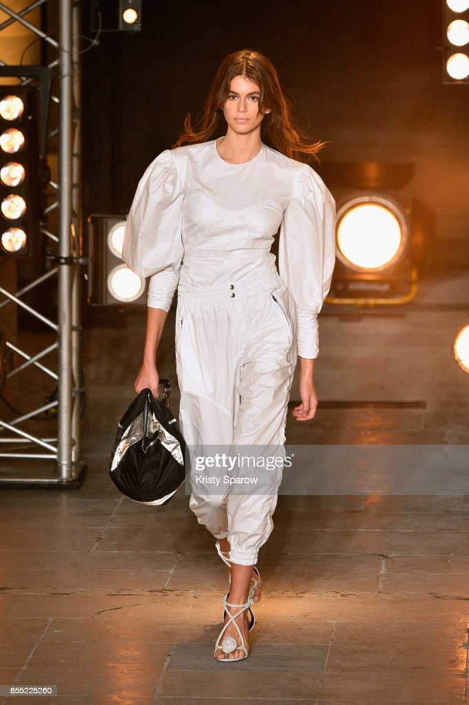 Model Kaia Gerber walks the runway during the Isabel Marant show as part of the Paris Fashion Week Womenswear Spring/Summer 2018 on September 28, 2017 in Paris, France.
