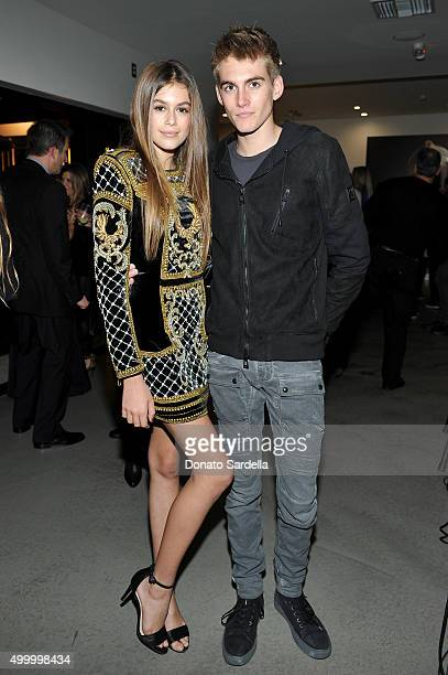 Model Kaia Jordan Gerber and Presley Walker Gerber attend a book party in honor of 'Becoming' by Cindy Crawford hosted by Bill Guthy And Greg Renker...