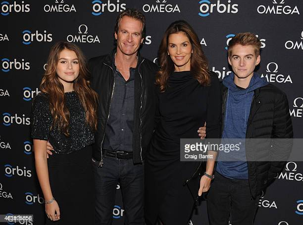 Model Kaia Jordan Gerber Businessman Rande Gerber model OMEGA Brand Ambassador Cindy Crawford and Presley Walker Gerber attend the screening of 'The...