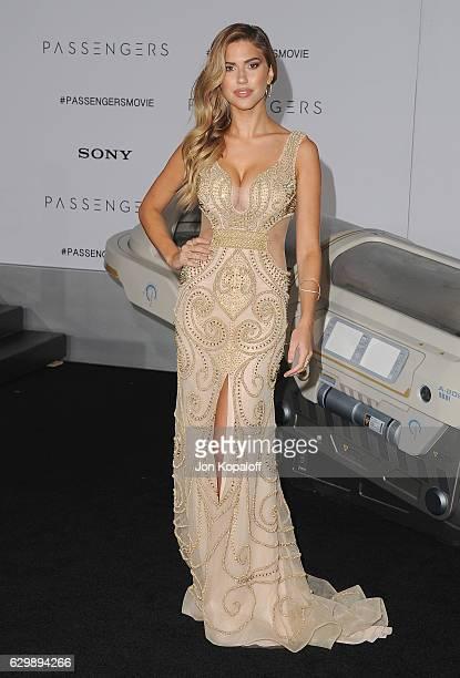Model Kara Del Toro arrives at the Los Angeles Premiere 'Passengers' at Regency Village Theatre on December 14 2016 in Westwood California