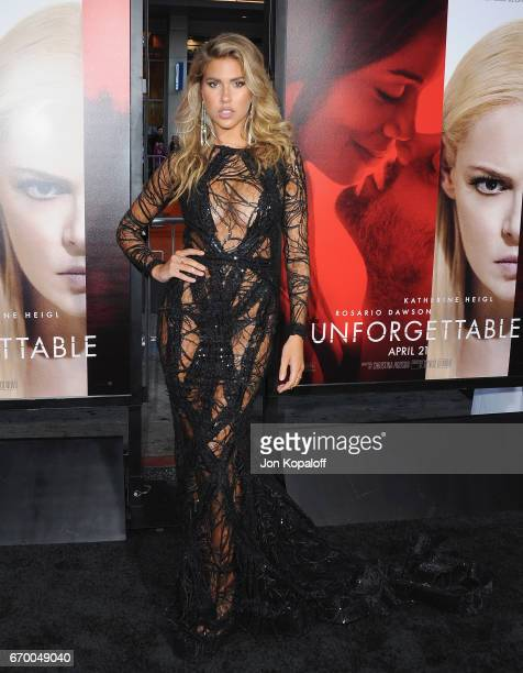 Model Kara Del Toro arrives at the Los Angeles Premiere 'Unforgettable' at TCL Chinese Theatre on April 18 2017 in Hollywood California