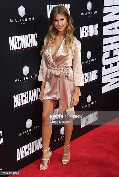 Model Kara Del Toro arrives at the premiere of Summit Entertainment's 'Mechanic Resurrection' at ArcLight Hollywood on August 22 2016 in Hollywood...