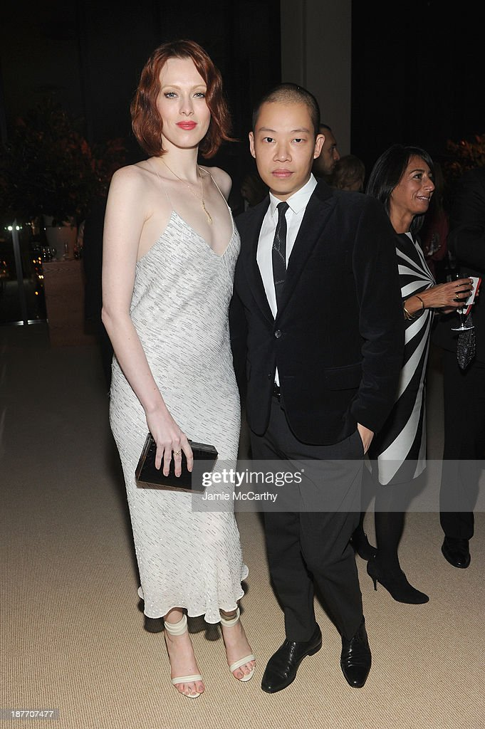 Model <a gi-track='captionPersonalityLinkClicked' href=/galleries/search?phrase=Karen+Elson&family=editorial&specificpeople=754972 ng-click='$event.stopPropagation()'>Karen Elson</a> and designer Jason Wu attends CFDA and Vogue 2013 Fashion Fund Finalists Celebration at Spring Studios on November 11, 2013 in New York City.