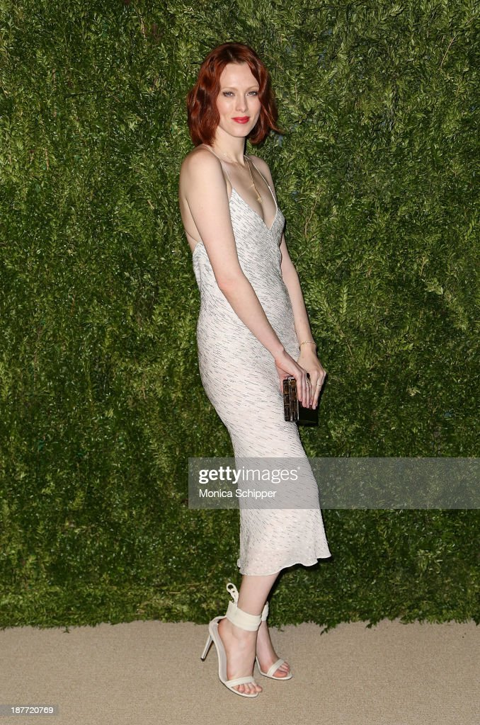 Model <a gi-track='captionPersonalityLinkClicked' href=/galleries/search?phrase=Karen+Elson&family=editorial&specificpeople=754972 ng-click='$event.stopPropagation()'>Karen Elson</a> attends CFDA and Vogue 2013 Fashion Fund Finalists Celebration at Spring Studios on November 11, 2013 in New York City.