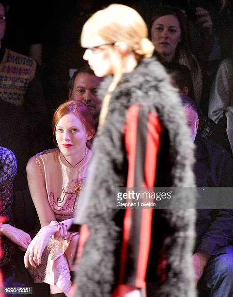 Model Karen Elson attends the Anna Sui fashion show during MercedesBenz Fashion Week Fall 2014 at The Theatre at Lincoln Center on February 12 2014...