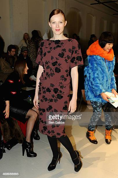 Model Karen Elson attends the Rodarte fashion show during MercedesBenz Fashion Week Fall 2014 at Center 548 on February 11 2014 in New York City