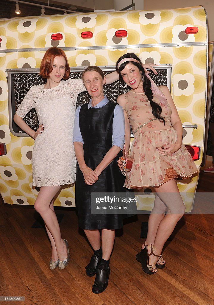 Model Karen Elson, designer Orla Kiely and artist Sarah Sophie Flicker attend the Orla Kiely for Target Preview Party on July 23, 2013 in New York City.