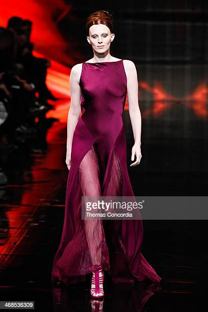 Model Karen Elson walks the runway at Donna Karan New York 30th Anniversary during MercedesBenz Fashion Week Fall 2014 at 23 Wall Street on February...