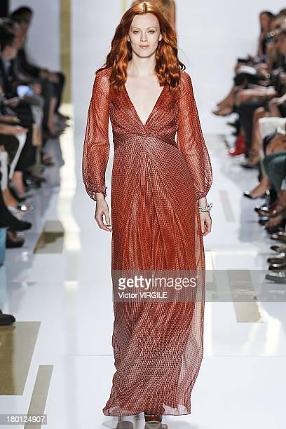 Model Karen Elson walks the runway at the Diane Von Furstenberg Ready to Wear fashion show during MercedesBenz Fashion Week Spring Summer 2014 at The...
