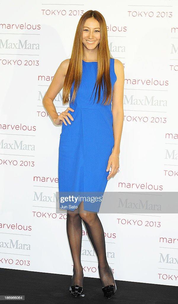 Model Karen Michibata attends a photocall of Marvelous Max Mara Tokyo 2013 at Ryogoku Kokugikan on November 5, 2013 in Tokyo, Japan.