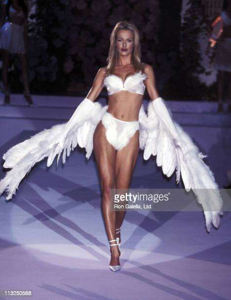Model Karen Mulder walks the runway at the Fourth Annual Victoria's Secret Fashion Show Runway on February 3 1998 at The Plaza Hotel in New York City