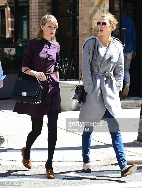 Model Karlie Kloss and Taylor Swift iare seen walking in Soho on April 3 2014 in New York City