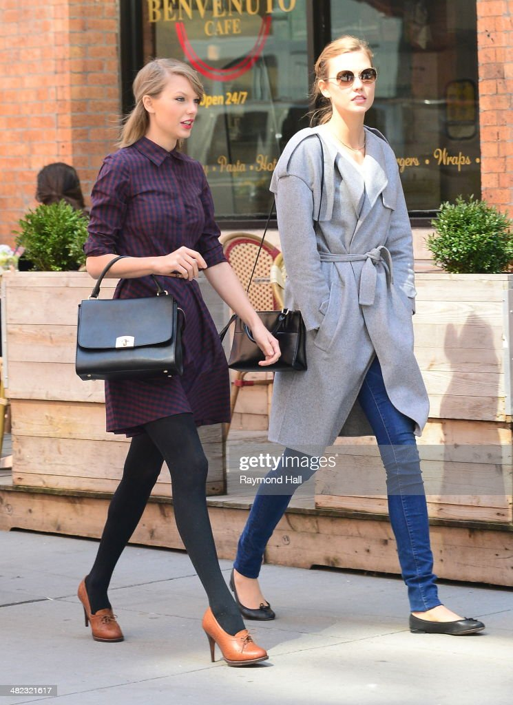 Model Karlie Kloss and Taylor Swift iare seen walking in Soho on April 3, 2014 in New York City.