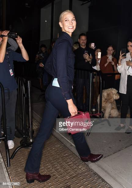 Model Karlie Kloss arrives at Calvin Klein Collection fashion show during New York Fashion Week on September 7 2017 in New York City