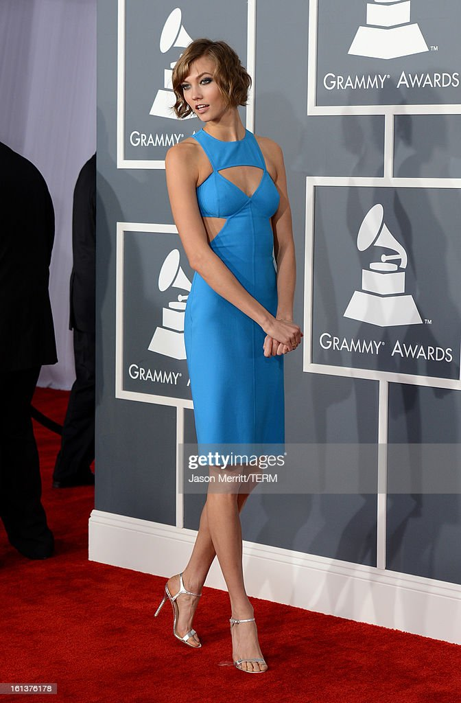 Model Karlie Kloss arrives at the 55th Annual GRAMMY Awards at Staples Center on February 10, 2013 in Los Angeles, California.