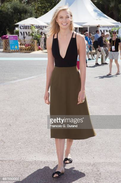 Model Karlie Kloss arrives at the 'Joanna Coles in conversation with Karlie Kloss' Seminar during the Cannes Lions Festival 2017 on June 19 2017 in...