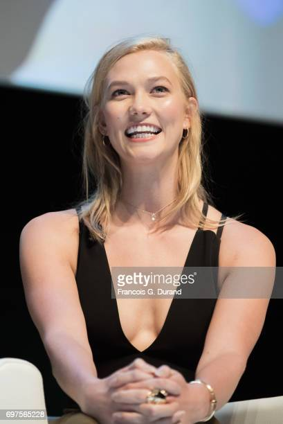 Model Karlie Kloss attends the 'Joanna Coles in conversation with Karlie Kloss' Seminar during the Cannes Lions Festival 2017 on June 19 2017 in...