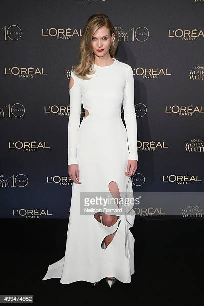 Model Karlie Kloss attends the L'Oreal Paris Women of Worth 2015 Celebration Arrivals at The Pierre Hotel on December 1 2015 in New York City