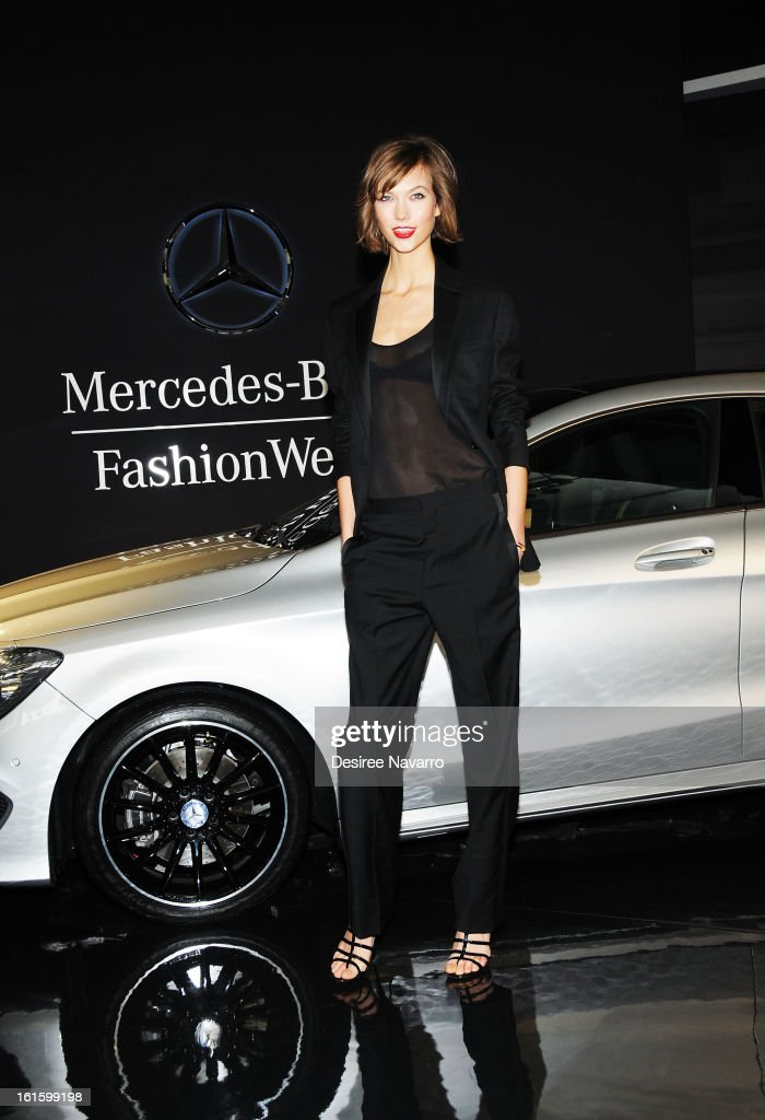 Model Karlie Kloss attends the unveiling of the Fall 2013 Mercedes-Benz Fashion Collaboration featuring the Mercedes-Benz CLA-Class at Lincoln Center on February 12, 2013 in New York City.