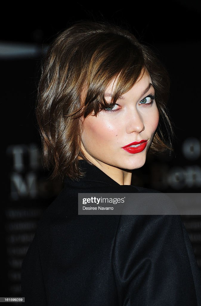 Model <a gi-track='captionPersonalityLinkClicked' href=/galleries/search?phrase=Karlie+Kloss&family=editorial&specificpeople=5555876 ng-click='$event.stopPropagation()'>Karlie Kloss</a> attends the unveiling of the Fall 2013 Mercedes-Benz Fashion Collaboration featuring the Mercedes-Benz CLA-Class at Lincoln Center on February 12, 2013 in New York City.