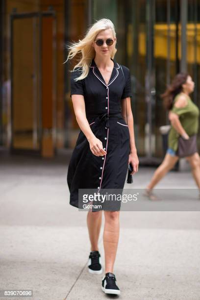 Model Karlie Kloss is seen arriving for fittings for the 2017 Victoria's Secret Fashion Show in Midtown on August 25 2017 in New York City Kloss...