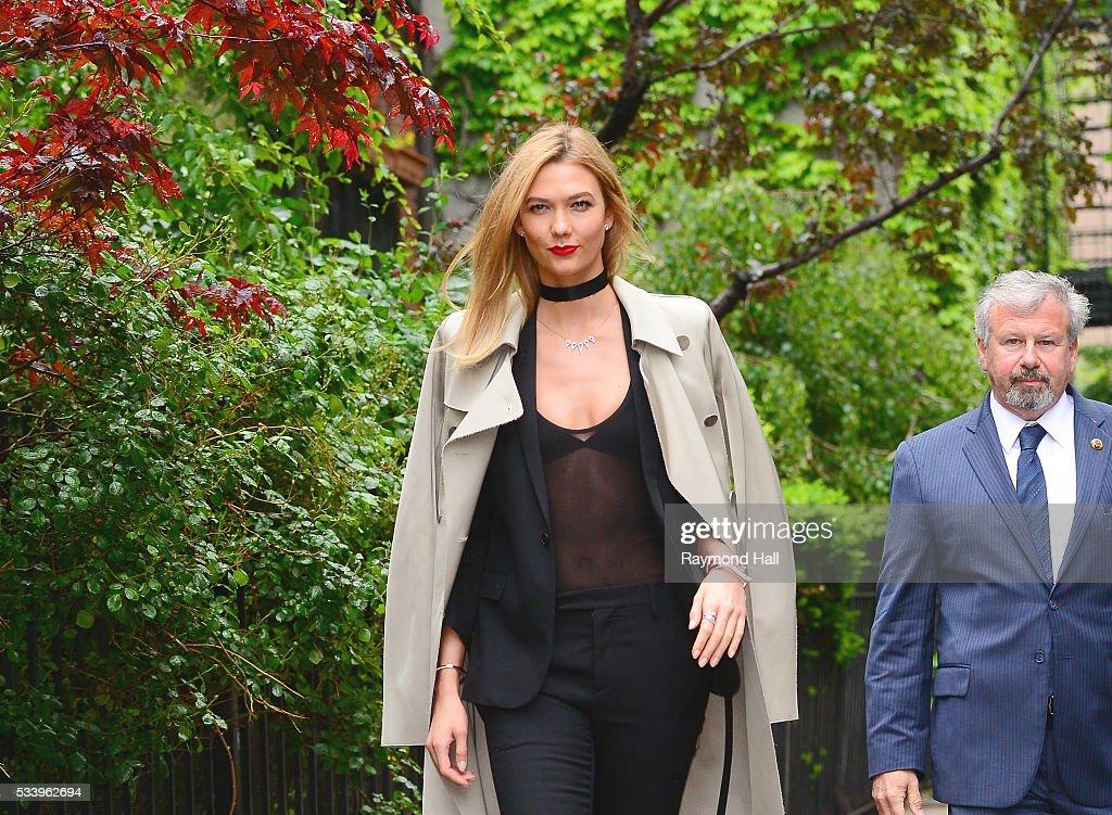 Model Karlie Kloss is seen walking in Soho on May 24, 2016 in New York City.