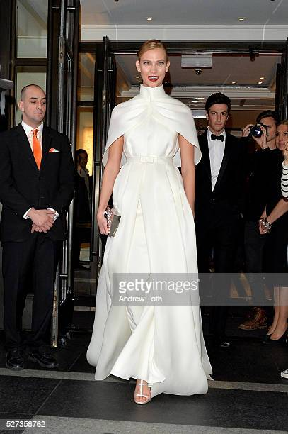 Model Karlie Kloss leaves from The Mark Hotel for the 2016 'Manus x Machina Fashion in an Age of Technology' Met Gala on May 2 2016 in New York City