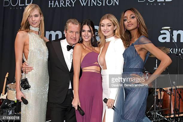Model Karlie Kloss photographer Mario Testino models Kendall Jenner Gigi Hadid and Jourdan Dunn attend amfAR's 22nd Cinema Against AIDS Gala...