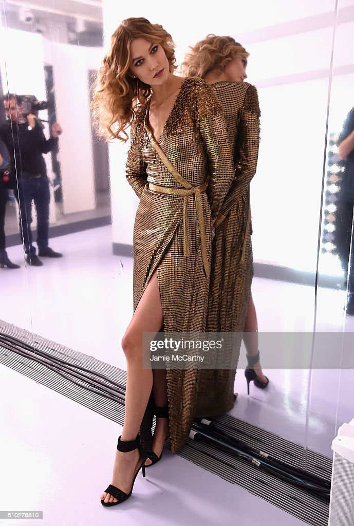 Model <a gi-track='captionPersonalityLinkClicked' href=/galleries/search?phrase=Karlie+Kloss&family=editorial&specificpeople=5555876 ng-click='$event.stopPropagation()'>Karlie Kloss</a> poses at the Diane Von Furstenberg Fall 2016 show during New York Fashion Week on February 14, 2016 in New York City.