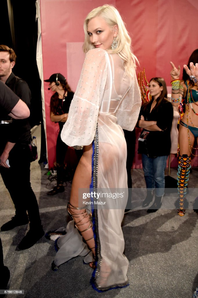 Model Karlie Kloss poses backstage during 2017 Victoria's Secret Fashion Show In Shanghai at Mercedes-Benz Arena on November 20, 2017 in Shanghai, China.
