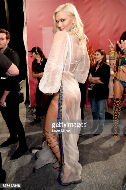 Model Karlie Kloss poses backstage during 2017 Victoria's Secret Fashion Show In Shanghai at MercedesBenz Arena on November 20 2017 in Shanghai China