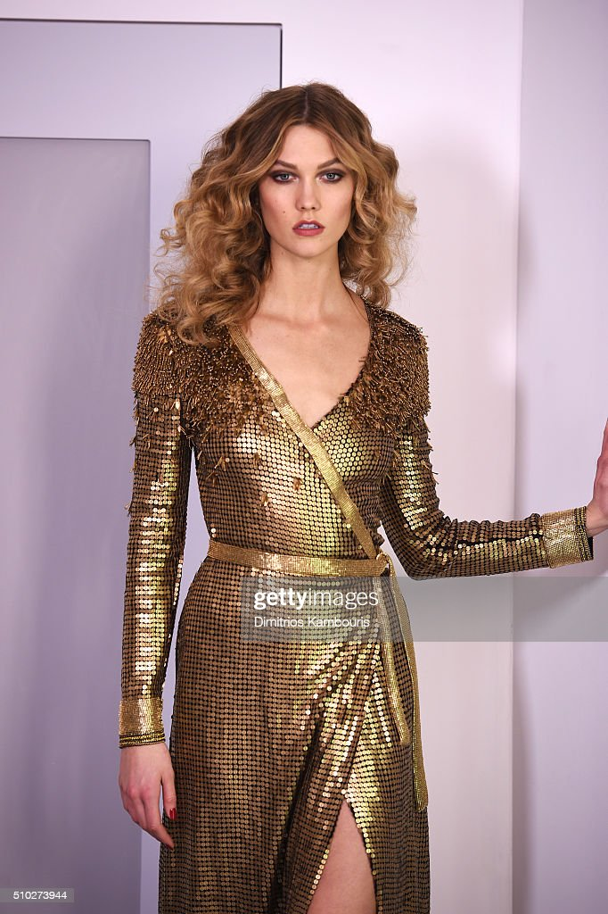 A model <a gi-track='captionPersonalityLinkClicked' href=/galleries/search?phrase=Karlie+Kloss&family=editorial&specificpeople=5555876 ng-click='$event.stopPropagation()'>Karlie Kloss</a> poses wearing Diane Von Furstenberg Fall 2016 during New York Fashion Week on February 14, 2016 in New York City.