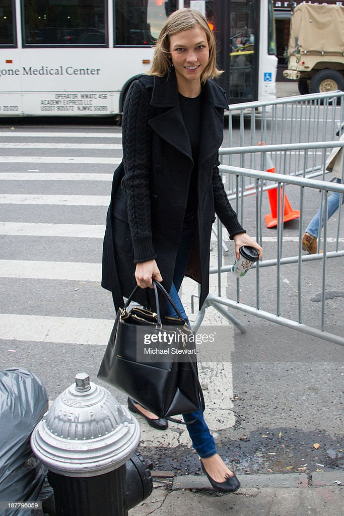Model <a gi-track='captionPersonalityLinkClicked' href=/galleries/search?phrase=Karlie+Kloss&family=editorial&specificpeople=5555876 ng-click='$event.stopPropagation()'>Karlie Kloss</a> seen arriving at rehearsals for the 2013 Victoria's Secret Fashion Show on November 12, 2013 in New York City.