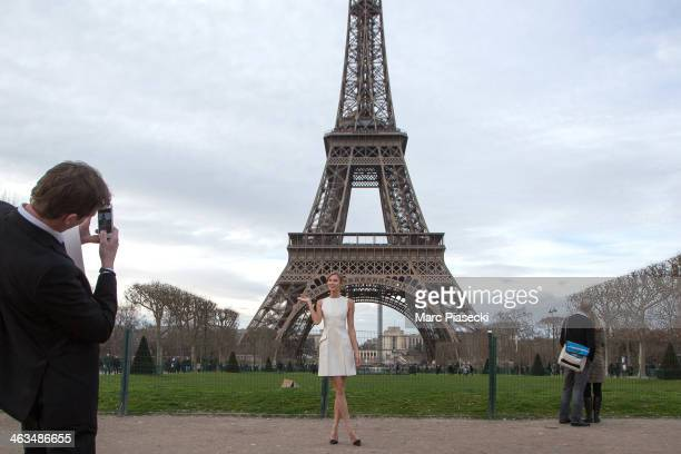 Model Karlie Kloss sighted at the Eiffel tower on January 18 2014 in Paris France