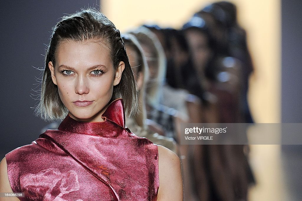 Model Karlie Kloss walks the runway at the finale of the Animale show as part of the Sao Paulo Fashion Week Spring Summer 2014 on March 18 2013.