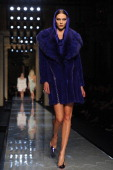 Model Karlie Kloss walks the runway during Atelier Versace show as part of Paris Fashion Week HauteCouture Spring/Summer 2014 on January 19 2014 in...