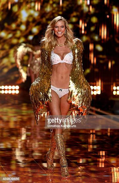 Model Karlie Kloss walks the runway during the 2014 Victoria's Secret Fashion Show at Earl's Court Exhibition Centre on December 2 2014 in London...